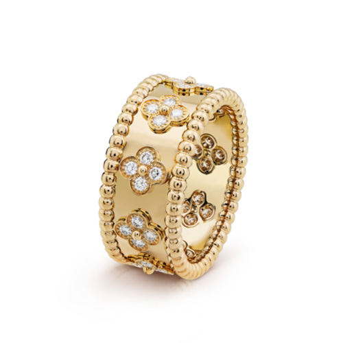 Perlée imitation van cleef yellow gold Ring diamonds