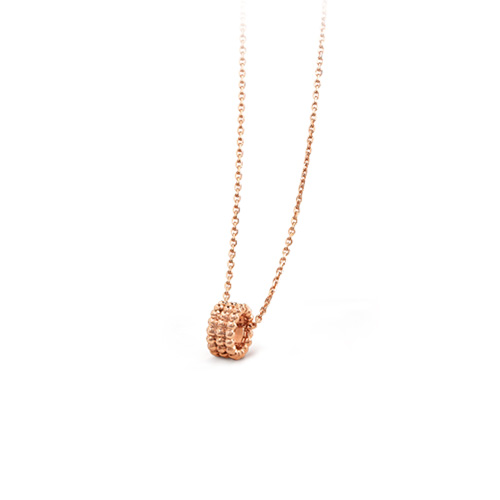 Perlée replica Van Cleef pink gold pendant 3 rows of beads design
