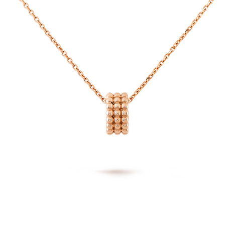 Perlée replica Van Cleef pink gold pendant 3 rows of beads design - Click Image to Close