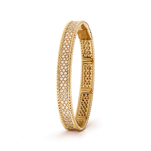 Perlée replica Van Cleef & Arpels yellow gold bracelet Inlaid round diamonds
