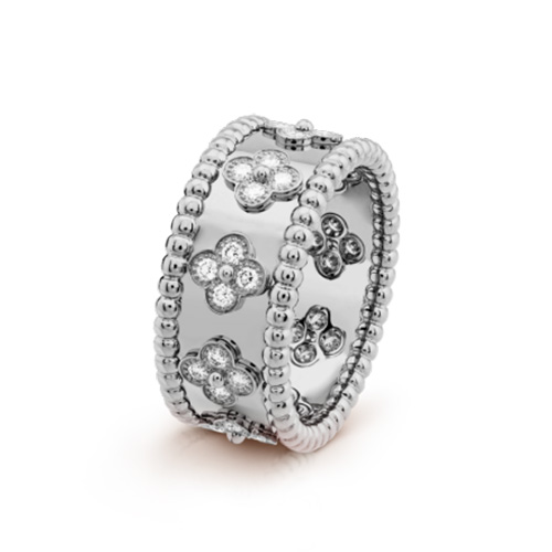 Perlée replica van cleef white gold Ring diamonds