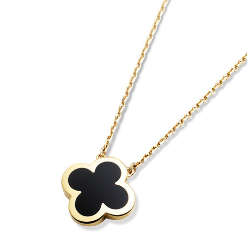 Pure replica Van Cleef & Arpels Alhambra yellow gold Clover pendant onyx