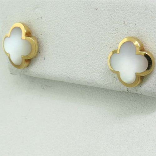 Pure imitation Van Cleef & Arpels Alhambra yellow gold earrings white mother-of-pearl