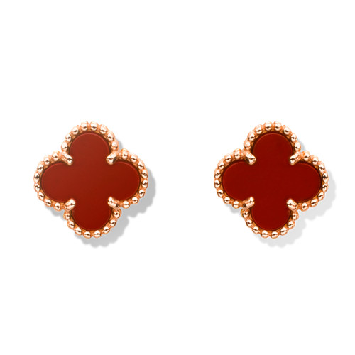 Sweet replica Van Cleef & Arpels Alhambra Clover pink gold earrings carnelian