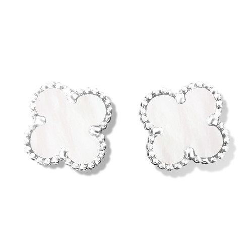 Sweet imitation Van Cleef & Arpels Alhambra Clover white gold earrings white and gray mother-of-pearl