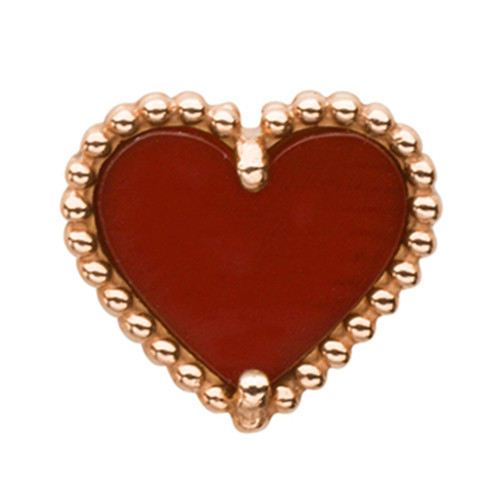 Sweet copy Van Cleef & Arpels Alhambra heart pink gold earrings carnelian - Click Image to Close