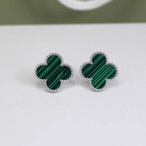 Sweet van cleef copy Alhambra white gold earrings malachite