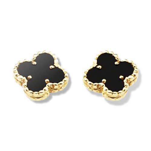 Sweet Fake Van Cleef Arpels Alhambra Clover Yellow Gold Earrings Onyx