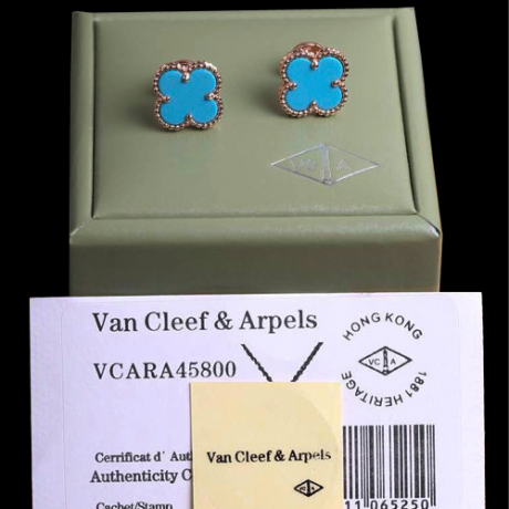 Sweet van cleef fake Alhambra pink gold earrings turquoise