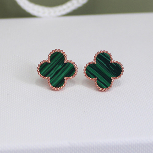 Sweet van cleef fake Alhambra pink gold earrings malachite