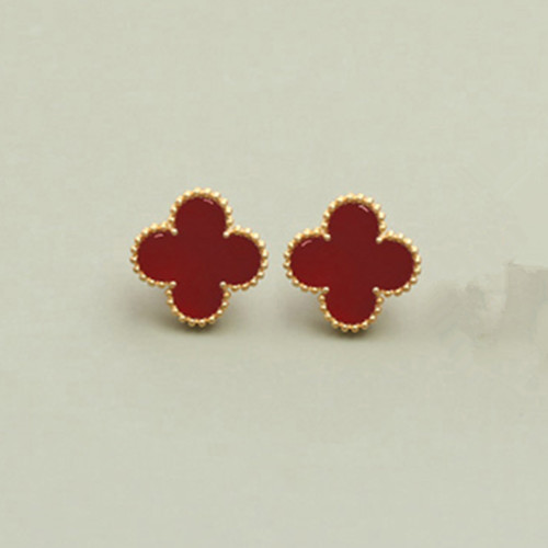 Sweet van cleef copy Alhambra yellow gold earrings carnelian