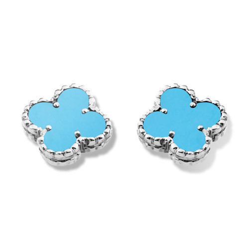 Sweet imitation Van Cleef & Arpels Alhambra Clover white gold earrings turquoise