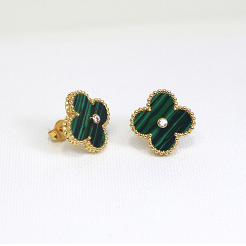 Sweet van cleef copy Alhambra yellow gold earrings malachite