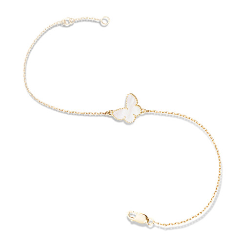 Sweet imitation Van Cleef & Arpels Alhambra butterfly yellow gold bracelet white mother-of-pearl