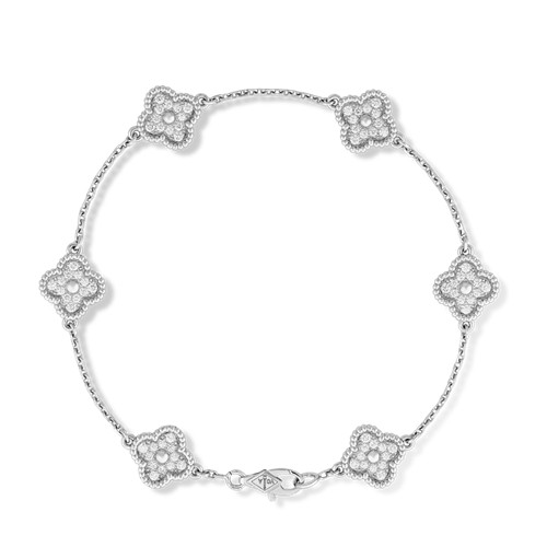 Sweet fake Van Cleef & Arpels Alhambra bracelet white gold 6 motifs round diamonds