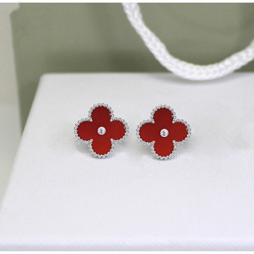 Sweet van cleef replica Alhambra white gold earrings carnelian round diamonds