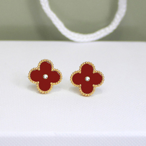 Sweet van cleef fake Alhambra yellow gold earrings carnelian