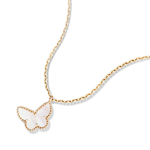 Sweet copy Van Cleef & Arpels Alhambra yellow gold butterfly pendant white mother-of-pearl