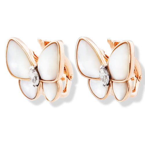fake Van Cleef & Arpels Butterfly pink gold earrings white mother-of-pearl and marquise-cut diamonds