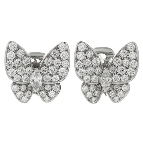 copy Van Cleef & Arpels Butterfly white gold earrings round white diamond and marquise-cut diamonds - Click Image to Close