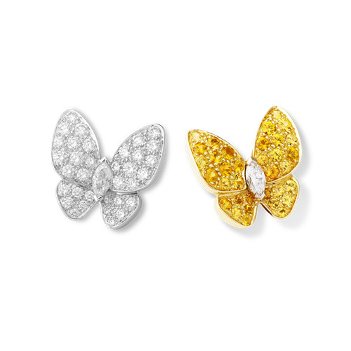imitation Van Cleef & Arpels Butterfly plating gold earstuds round white and yellow diamond and marquise-cut diamonds
