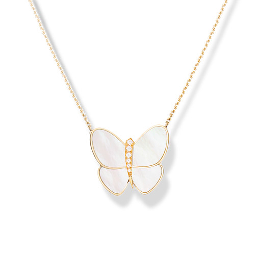 copy Van Cleef & Arpels Alhambra butterfly Butterfly pendant yellow gold white mother-of-pearl round diamond