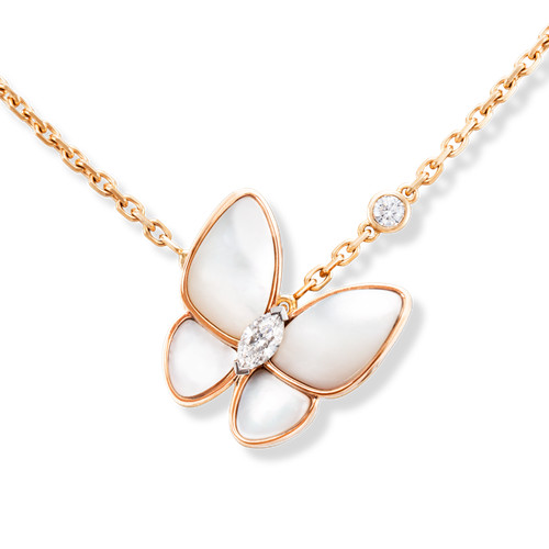 fake Van Cleef & Arpels Alhambra butterfly Butterfly pendant pink gold white mother-of-pearl round diamond