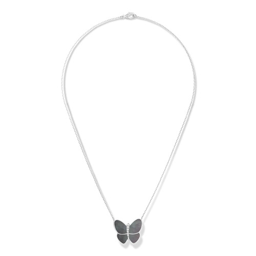 replica Van Cleef & Arpels Alhambra butterfly Butterfly pendant white gold gray mother-of-pearl round diamond