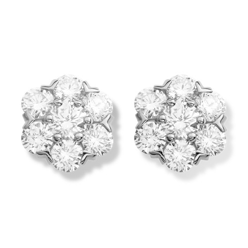 Fleurette fake Van Cleef & Arpels earrings white gold large model with round diamonds - Click Image to Close