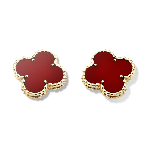 Vintage replica Van Cleef & Arpels Alhambra yellow gold earrings carnelian
