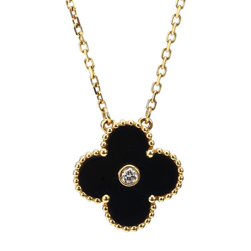 Vintage van cleef replica Alhambra yellow gold pendant onyx round diamond