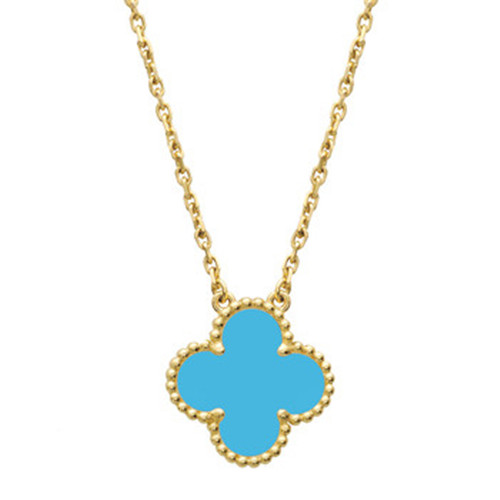 Vintage replica Van Cleef & Arpels Alhambra yellow gold Clover pendant turquoise