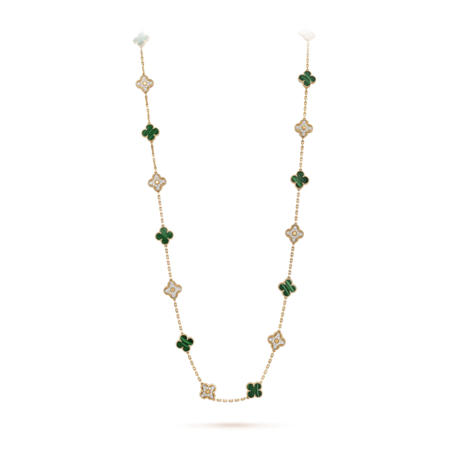 Vintage van cleef replica Alhambra yellow gold long necklace