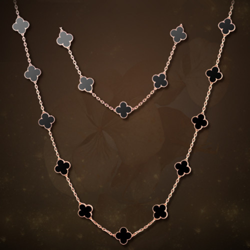 Vintage van cleef replica Alhambra pink gold long necklace onyx