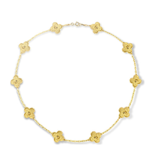 Vintage van cleef replica Alhambra yellow gold necklace