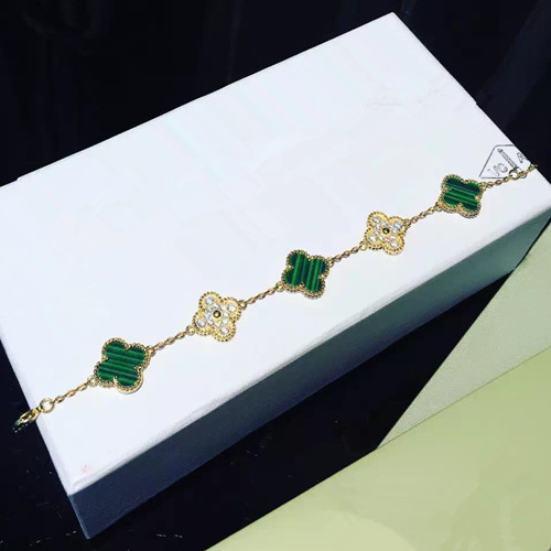 Vintage van cleef fake Alhambra yellow gold bracelet malachite round diamonds