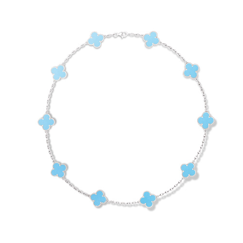 Vintage replica Van Cleef & Arpels Alhambra necklace white gold 10 motifs turquoise