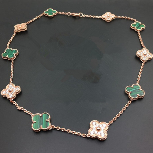 Vintage van cleef replica Alhambra pink gold necklace malachite round diamonds