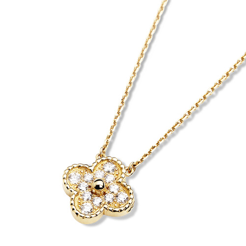 Vintage van cleef copy Alhambra yellow gold pendant round diamonds