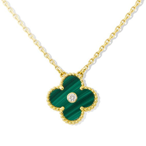 Vintage van cleef copy Alhambra yellow gold pendant malachite round diamond