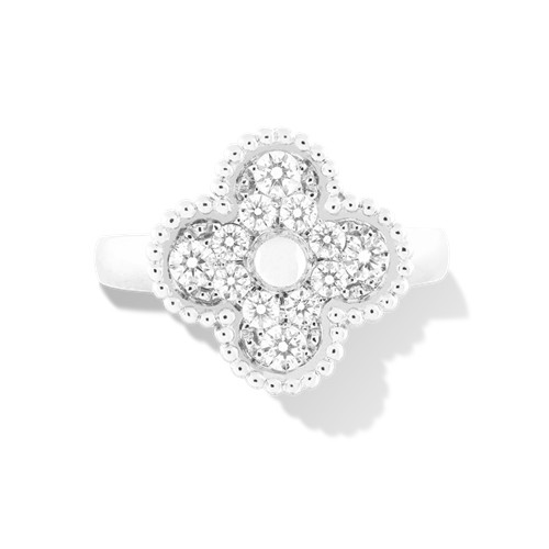 Vintage imitation Van Cleef & Arpels Alhambra white gold Ring 12 round diamond