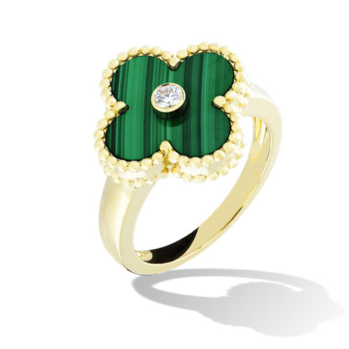 Vintage fake Van Cleef & Arpels Alhambra yellow gold Ring malachite with round diamond - Click Image to Close