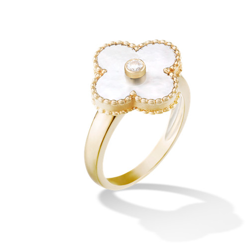 Vintage replica Van Cleef & Arpels Alhambra yellow gold Ring white mother-of-pearl with round diamond
