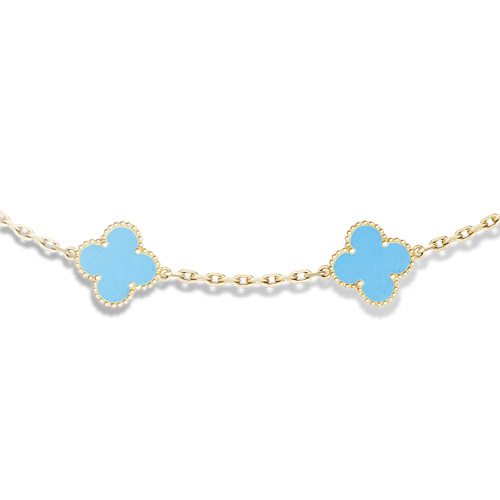Vintage fake Van Cleef & Arpels Alhambra necklace yellow gold 10 motifs turquoise