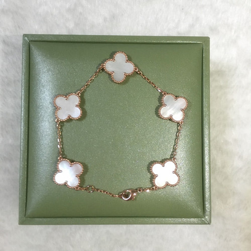 Vintage van cleef copy Alhambra pink gold bracelet white mother-of-pearl