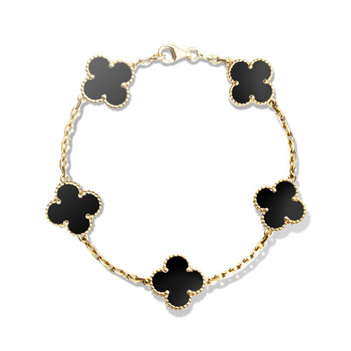Vintage replica Van Cleef & Arpels Alhambra bracelet yellow gold 5 motifs onyx - Click Image to Close