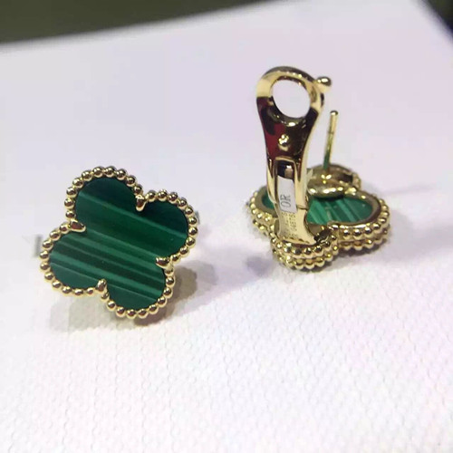 Vintage Fake Van Cleef Arpels Alhambra Yellow Gold Earrings Malachite