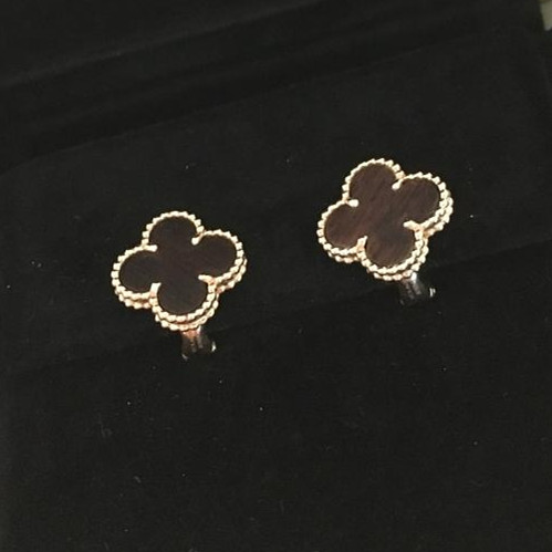 Vintage replica Van Cleef & Arpels Alhambra pink gold earrings bois d'amourette - Click Image to Close