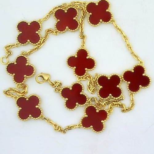 Vintage imitation Van Cleef & Arpels Alhambra necklace yellow gold 10 motifs carnelian