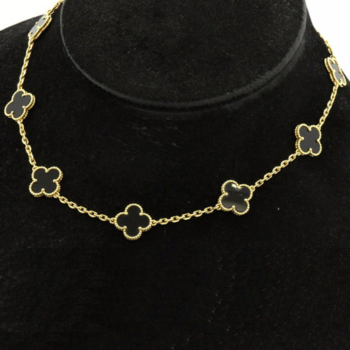 Vintage replica Van Cleef & Arpels Alhambra necklace yellow gold 10 motifs onyx